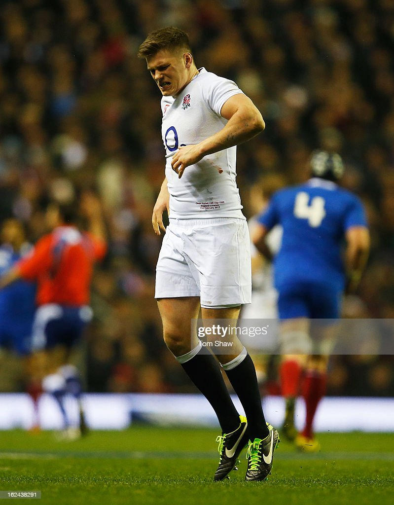 <a gi-track='captionPersonalityLinkClicked' href=/galleries/search?phrase=Owen+Farrell&family=editorial&specificpeople=4809668 ng-click='$event.stopPropagation()'>Owen Farrell</a> of England pulls up injured during the RBS Six Nations match between England and France at Twickenham Stadium on February 23, 2013 in London, England.
