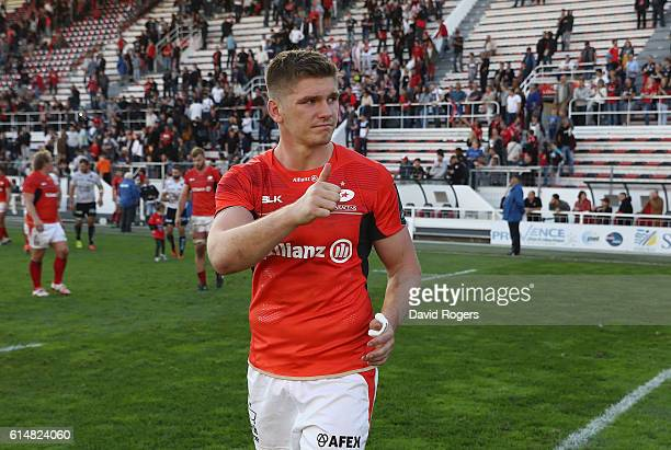 Owen Farrell of Saracens celebrates after their victory during the European Rugby Champions Cup match between RC Toulon and Saracens at Stade Felix...