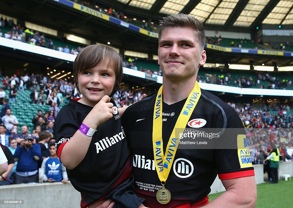 <a gi-track='captionPersonalityLinkClicked' href=/galleries/search?phrase=Owen+Farrell&family=editorial&specificpeople=4809668 ng-click='$event.stopPropagation()'>Owen Farrell</a> of Saracens celebrates his side's win in the Aviva Premiership final match between Saracens and Exeter Chiefs at Twickenham Stadium on May 28, 2016 in London, England.