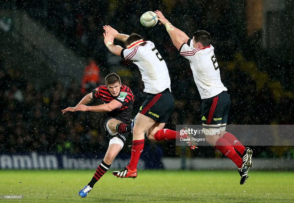 <a gi-track='captionPersonalityLinkClicked' href=/galleries/search?phrase=Owen+Farrell&family=editorial&specificpeople=4809668 ng-click='$event.stopPropagation()'>Owen Farrell</a> of Saracens clears the ball downfield during the Heineken Cup pool one match between Saracens and Munster at Vicarage Road on December 16, 2012 in Watford, United Kingdom.