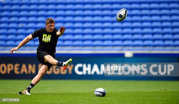 Owen Farrell of Saracens in action during Saracens Captain's Run at Grand Stade de Lyon ahead of the European Rugby Champions Cup Final on May 13...