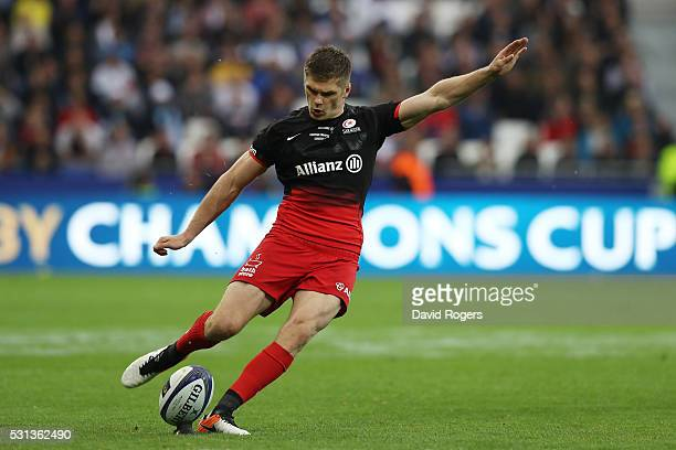 Owen Farrell of Saracens kicks a penalty to open the scoring during the European Rugby Champions Cup Final match between Racing 92 and Saracens at...