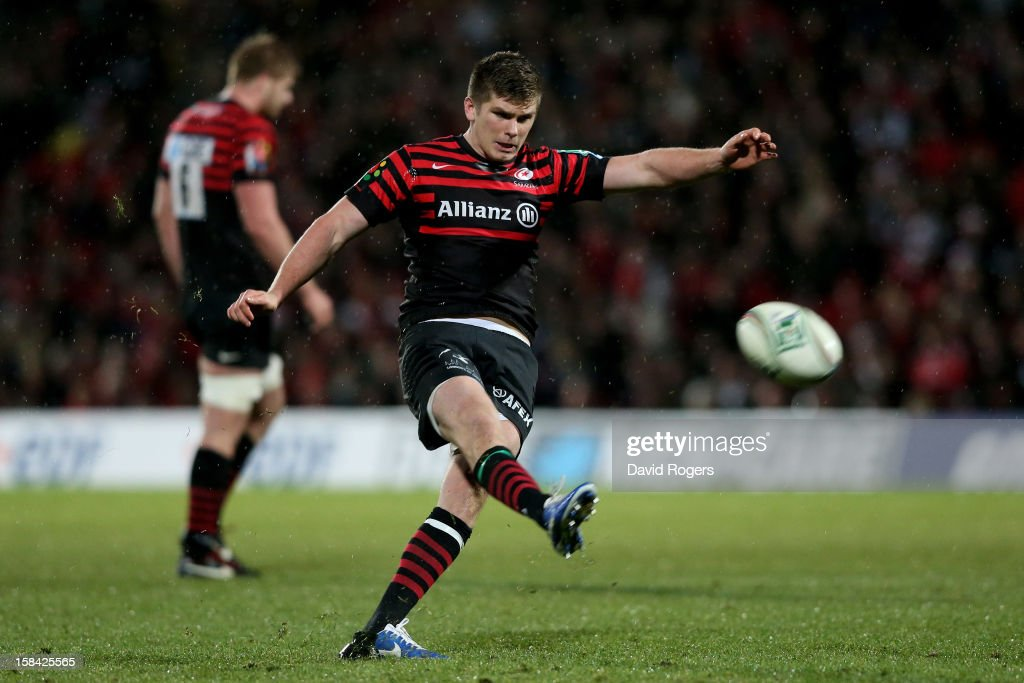 <a gi-track='captionPersonalityLinkClicked' href=/galleries/search?phrase=Owen+Farrell&family=editorial&specificpeople=4809668 ng-click='$event.stopPropagation()'>Owen Farrell</a> of Saracens kicks at goal during the Heineken Cup pool one match between Saracens and Munster at Vicarage Road on December 16, 2012 in Watford, United Kingdom.