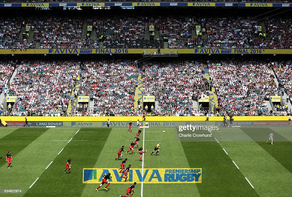 <a gi-track='captionPersonalityLinkClicked' href=/galleries/search?phrase=Owen+Farrell&family=editorial&specificpeople=4809668 ng-click='$event.stopPropagation()'>Owen Farrell</a> of Saracens kicks off to start the the Aviva Premiership final match between Saracens and Exeter Chiefs at Twickenham Stadium on May 28, 2016 in London, England.