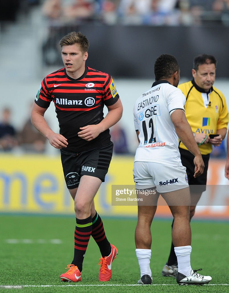 <a gi-track='captionPersonalityLinkClicked' href=/galleries/search?phrase=Owen+Farrell&family=editorial&specificpeople=4809668 ng-click='$event.stopPropagation()'>Owen Farrell</a> of Saracens leaves the pitch after being shown a yellow card by the Referee Martin Fox for catching Tom Heathcote of Bath with a high tackle during the Aviva Premiership match between Saracens and Bath at Allianz Park on May 04, 2013 in Barnet, England.