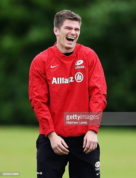 Owen Farrell of Saracens looks on during a Saracens Training Session on May 24 2016 in St Albans England