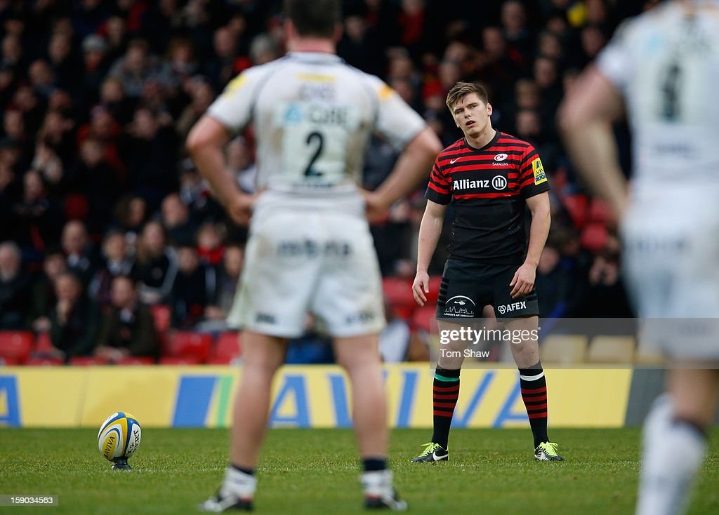 Owen Farrell of Saracens looks on during the Aviva Premiership match between Saracens and Sale Sharks at Vicarage Road on January 6, 2013 in Watford, England.