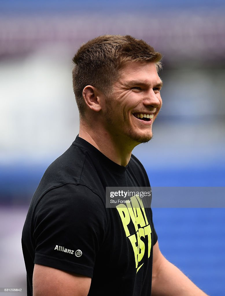 <a gi-track='captionPersonalityLinkClicked' href=/galleries/search?phrase=Owen+Farrell&family=editorial&specificpeople=4809668 ng-click='$event.stopPropagation()'>Owen Farrell</a> of Saracens raises a smile during Saracens Captain's Run at Grand Stade de Lyon ahead of the European Rugby Champions Cup Final on May 13, 2016 in Lyon, .