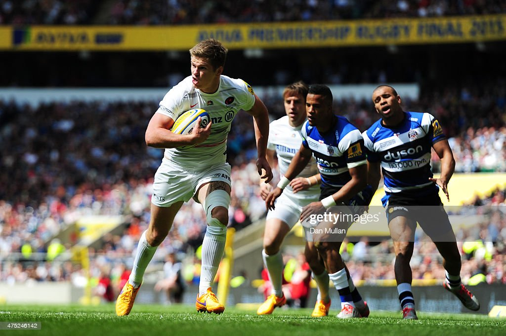 <a gi-track='captionPersonalityLinkClicked' href=/galleries/search?phrase=Owen+Farrell&family=editorial&specificpeople=4809668 ng-click='$event.stopPropagation()'>Owen Farrell</a> of Saracens scores the opening try during the Aviva Premiership Final between Bath Rugby and Saracens at Twickenham Stadium on May 30, 2015 in London, England