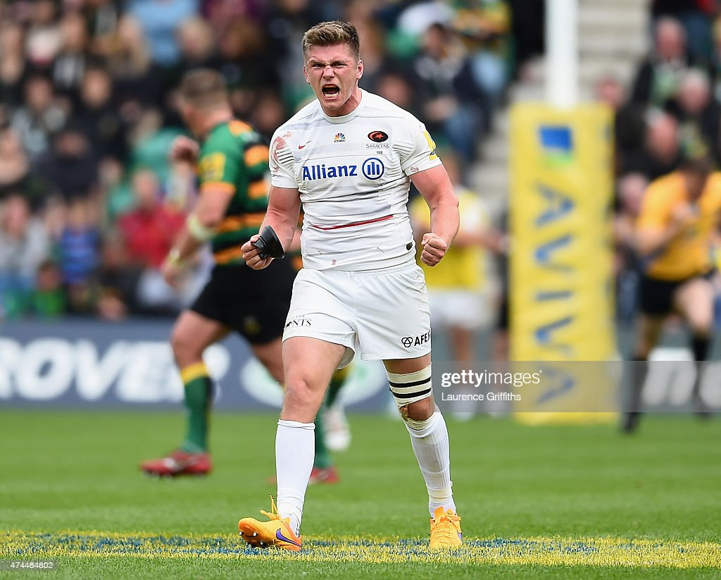 <a gi-track='captionPersonalityLinkClicked' href=/galleries/search?phrase=Owen+Farrell&family=editorial&specificpeople=4809668 ng-click='$event.stopPropagation()'>Owen Farrell</a> of Sarasens celebreate scoring a late penalty during the Aviva Premiership Play Off Semi Final between Northampton Saints and Saracens at Franklin's Gardens on May 23, 2015 in Northampton, England.