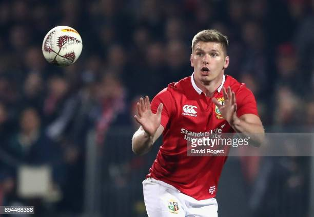 Owen Farrell of the Lions catches the ball during the match between the Crusaders and the British Irish Lions at AMI Stadium on June 10 2017 in...