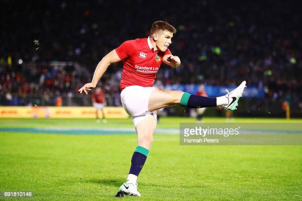 Owen Farrell of the Lions kicks a conversion during the match between the New Zealand Provincial Barbarians and British Irish Lions at Toll Stadium...