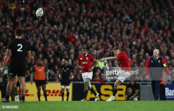 Owen Farrell of the Lions kicks a long range penalty to level the scores at 1212 during the third test match between the New Zealand All Blacks and...