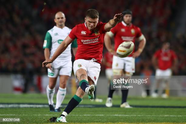 Owen Farrell of the Lions kicks a penalty during the first test match between the New Zealand All Blacks and the British Irish Lions at Eden Park on...