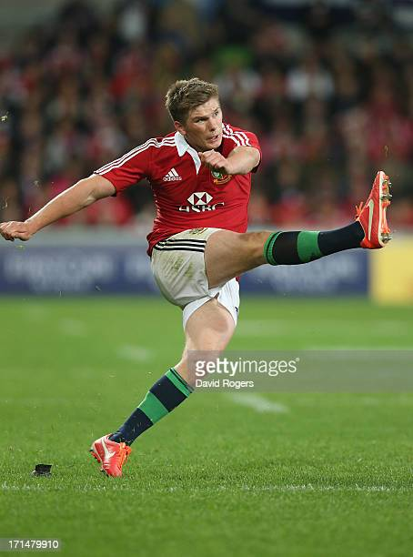 Owen Farrell of the Lions kicks a penalty during the International Tour Match between the Melbourne Rebels and the British Irish Lions at AAMI Park...