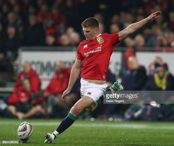 Owen Farrell of the Lions kicks a penalty during the match between the Crusaders and the British Irish Lions at AMI Stadium on June 10 2017 in...