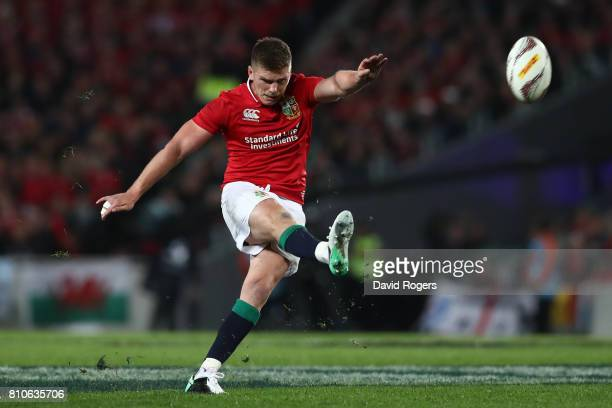 Owen Farrell of the Lions kicks a penalty during the third test match between the New Zealand All Blacks and the British Irish Lions at Eden Park on...