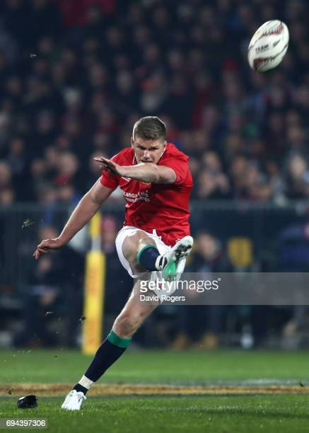 Owen Farrell of the Lions kicks a penalty to score the opening points during the 2017 British Irish Lions tour match between the Crusaders and the...