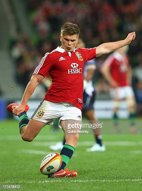 Owen Farrell of the Lions kicks during the International Tour Match between the Melbourne Rebels and the British Irish Lions at AAMI Park on June 25...
