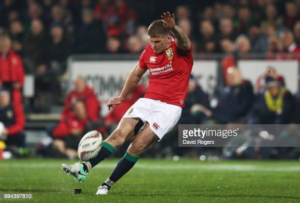 Owen Farrell of the Lions kicks his team's second penalty during the 2017 British Irish Lions tour match between the Crusaders and the British Irish...