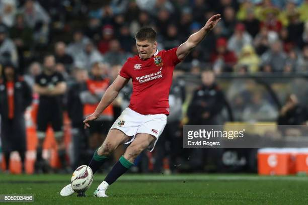 Owen Farrell of the Lions kicks the match winning penalty during the second test match between the New Zealand All Blacks and the British Irish Lions...