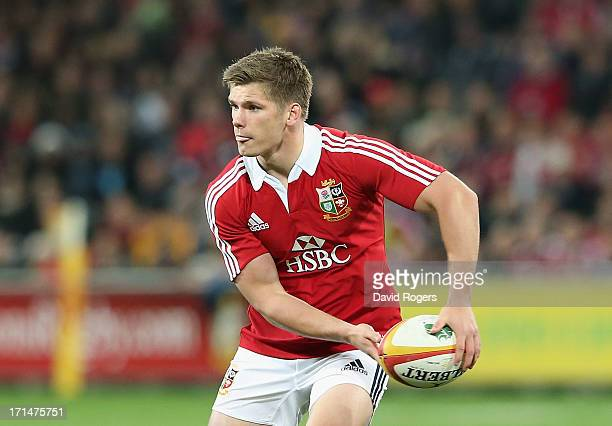 Owen Farrell of the Lions passes the ball during the International Tour Match between the Melbourne Rebels and the British Irish Lions at AAMI Park...