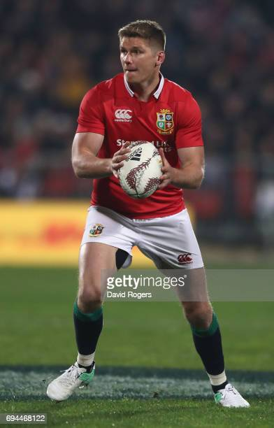 Owen Farrell of the Lions runs with the ball during the match between the Crusaders and the British Irish Lions at AMI Stadium on June 10 2017 in...