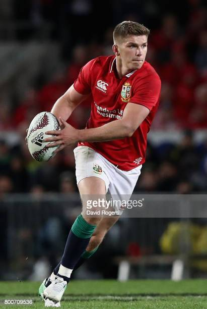 Owen Farrell of the Lions runs with the ball during the Test match between the New Zealand All Blacks and the British Irish Lions at Eden Park on...
