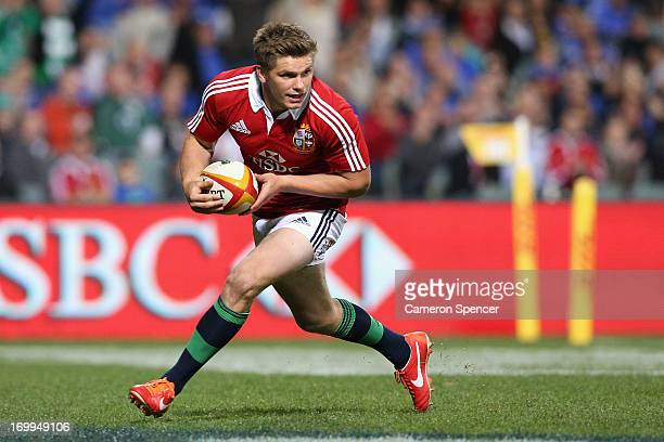 Owen Farrell of the Lions scores a try during the tour match between the Western Force and the British Irish Lions at Patersons Stadium on June 5...
