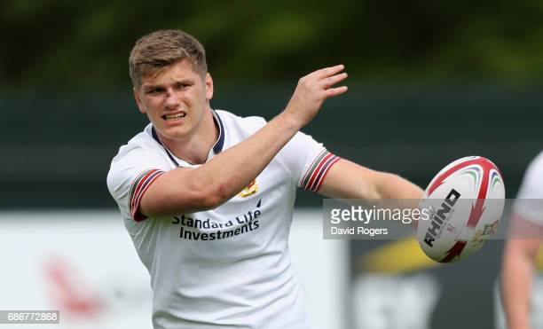 Owen Farrell passes the ball during the British and Irish Lions training session held at Carton House Golf Club on May 22 2017 in Maynooth Ireland