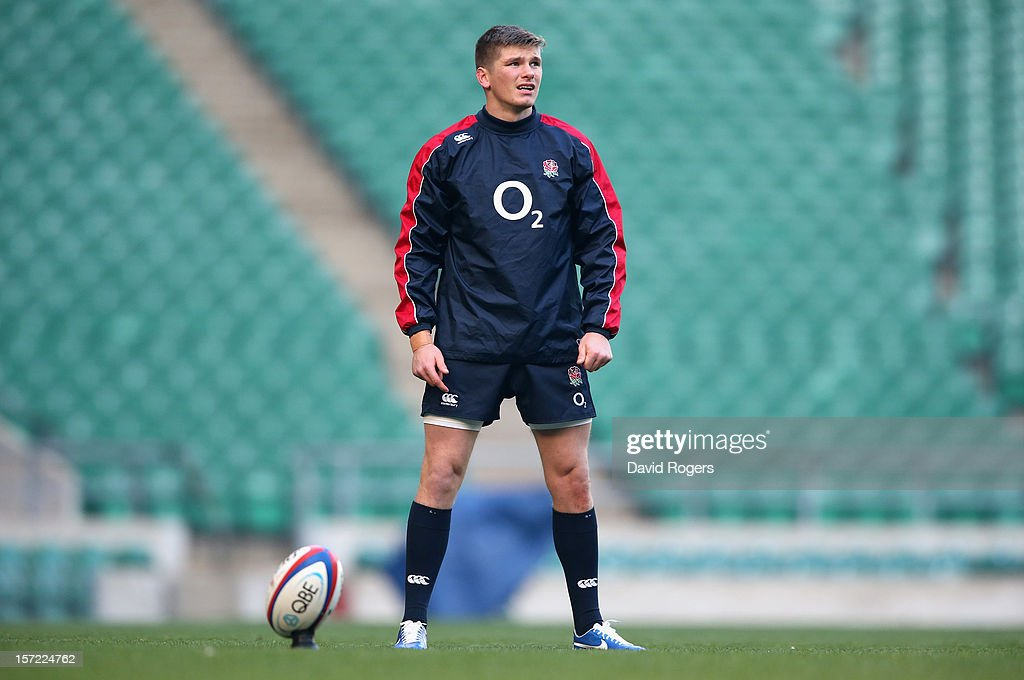 Owen Farrell, the England standoff, lines up a kick during the England captain's run at Twickenham Stadium on November 30, 2012 in London, England.