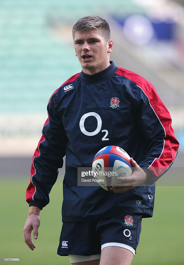 Owen Farrell, the England standoff, looks on during the England captain's run at Twickenham Stadium on November 30, 2012 in London, England.
