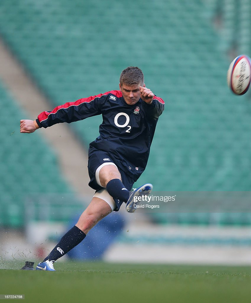 <a gi-track='captionPersonalityLinkClicked' href=/galleries/search?phrase=Owen+Farrell&family=editorial&specificpeople=4809668 ng-click='$event.stopPropagation()'>Owen Farrell</a>, the England standoff, practices his kicking during the England captain's run at Twickenham Stadium on November 30, 2012 in London, England.