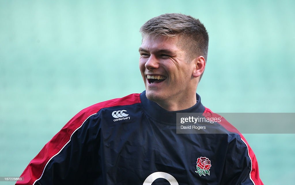 <a gi-track='captionPersonalityLinkClicked' href=/galleries/search?phrase=Owen+Farrell&family=editorial&specificpeople=4809668 ng-click='$event.stopPropagation()'>Owen Farrell</a>, the England standoff, smiles during the England captain's run at Twickenham Stadium on November 30, 2012 in London, England.