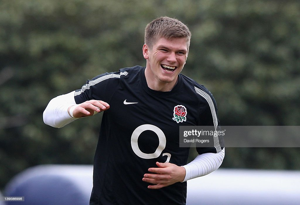 <a gi-track='captionPersonalityLinkClicked' href=/galleries/search?phrase=Owen+Farrell&family=editorial&specificpeople=4809668 ng-click='$event.stopPropagation()'>Owen Farrell</a>, the England standoff, smiles during the England training session held at Pennyhill Park on February 23, 2012 in Bagshot, England.