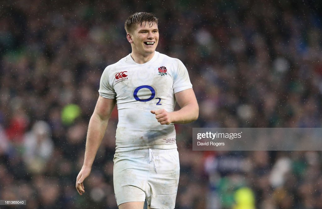 <a gi-track='captionPersonalityLinkClicked' href=/galleries/search?phrase=Owen+Farrell&family=editorial&specificpeople=4809668 ng-click='$event.stopPropagation()'>Owen Farrell</a>, who scored all of England's twelve points, smiles during the RBS Six Nations match between Ireland and England at the Aviva Stadium on February 10, 2013 in Dublin, Ireland.