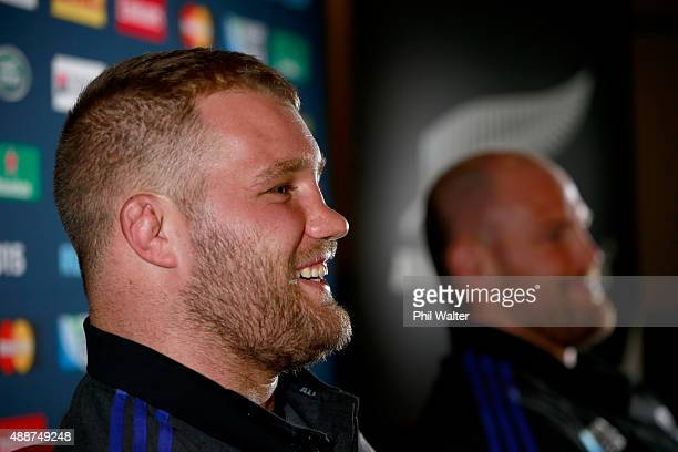 Owen Franks and Ben Franks of the All Blacks speak during a New Zealand All Blacks press conference at the Lensbury on September 17 2015 in London...