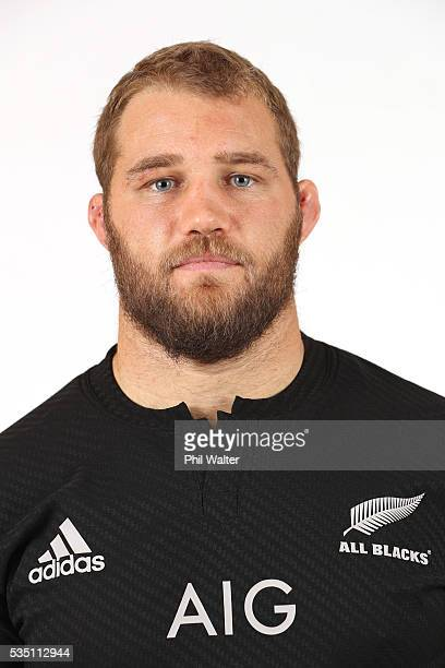 Owen Franks of the All Blacks poses for a portrait during a New Zealand All Black portrait session on May 29 2016 in Auckland New Zealand