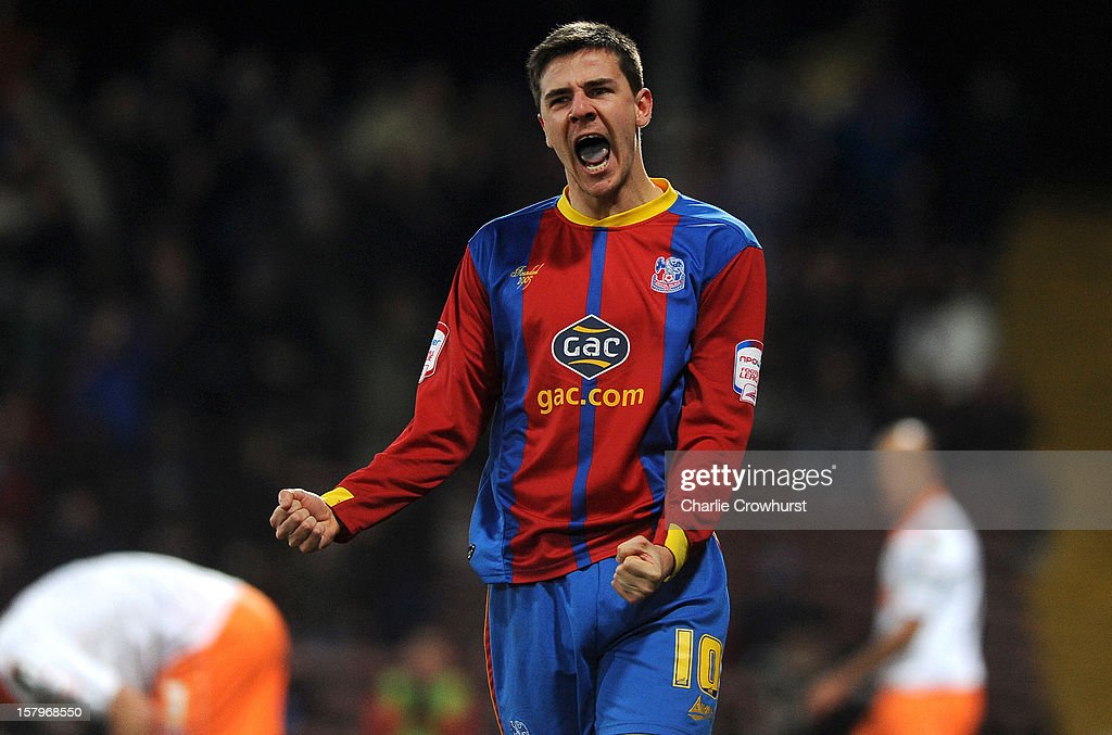 <a gi-track='captionPersonalityLinkClicked' href=/galleries/search?phrase=Owen+Garvan&family=editorial&specificpeople=786029 ng-click='$event.stopPropagation()'>Owen Garvan</a> of Crystal Palace celebrates after scoring his team's first goal during the npower Championship match between Crystal Palace and Blackpool at Selhurt Park on December 08, 2012 in London, England.