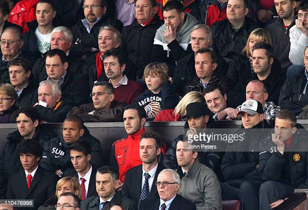 Owen Hargreaves Bebe John O'Shea Rio Ferdinand Nemanja Vidic and Anders Lindegard of Manchester United watch from the directors box during the...