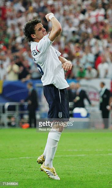 Owen Hargreaves of England celebrates scoring a penalty in a penalty shootout during the FIFA World Cup Germany 2006 Quarterfinal match between...