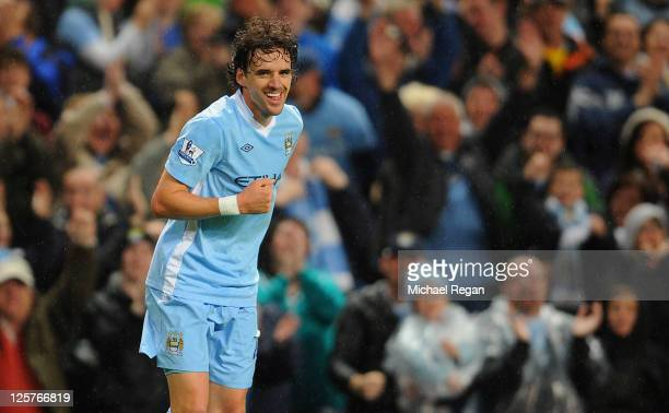 Owen Hargreaves of Manchester City celebrates scoring to make it 10 during the Carling Cup Third Round match between Manchester City and Birmingham...