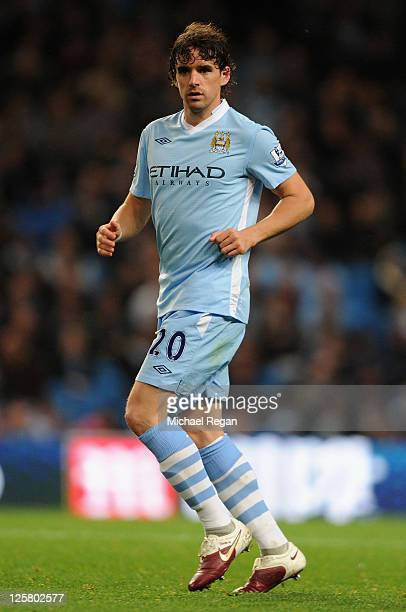 Owen Hargreaves of Manchester City in action during the Carling Cup Third Round match between Manchester City and Birmingham City at the Etihad...