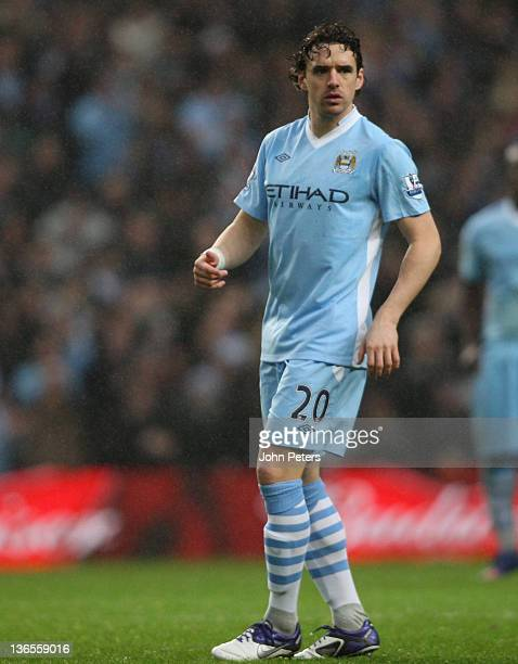 Owen Hargreaves of Manchester City in action during the FA Cup Third Round match between Manchester City and Manchester United at Etihad Stadium on...