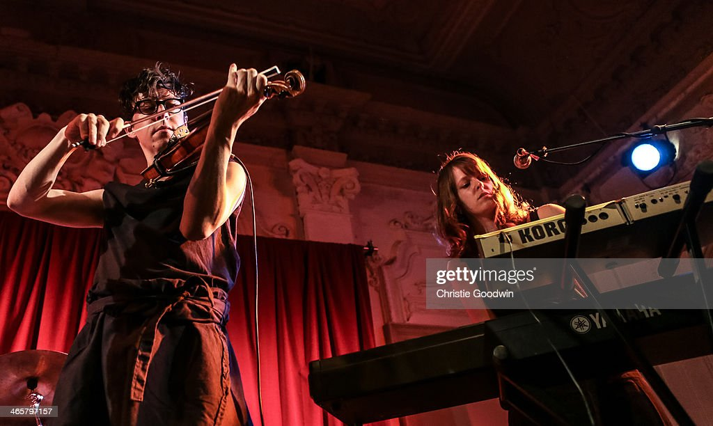 Owen Pallett and Laura Barrett of The Hidden Cameras performs on stage at Bush Hall on January 29 2014 in London United Kingdom
