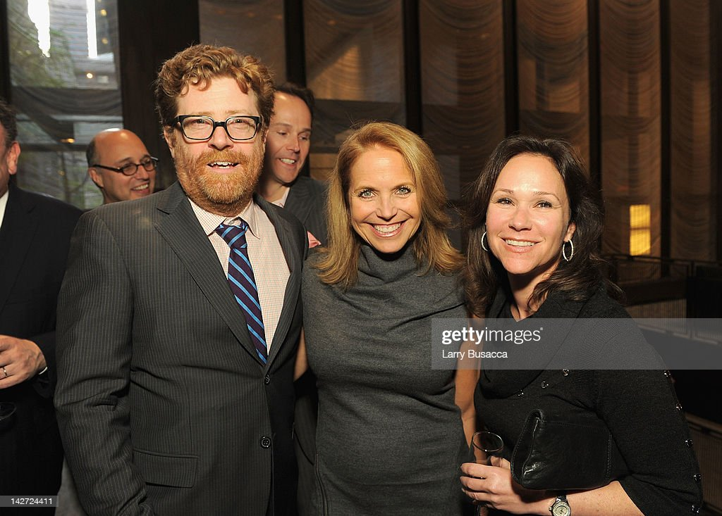 Owen Phillips (L) and journalist <a gi-track='captionPersonalityLinkClicked' href=/galleries/search?phrase=Katie+Couric&family=editorial&specificpeople=202633 ng-click='$event.stopPropagation()'>Katie Couric</a> (C) attend the Hollywood Reporter celebration of 'The 35 Most Powerful People in Media' at the Four Season Grill Room on April 11, 2012 in New York City.