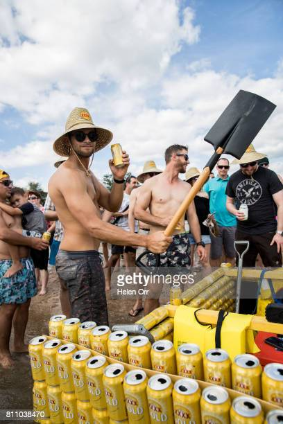 Owen Richards during the Darwin Beer Can Regatta at Mindil Beach on July 9 2017 in Darwin Australia The annual event first started in 1974 as a way...