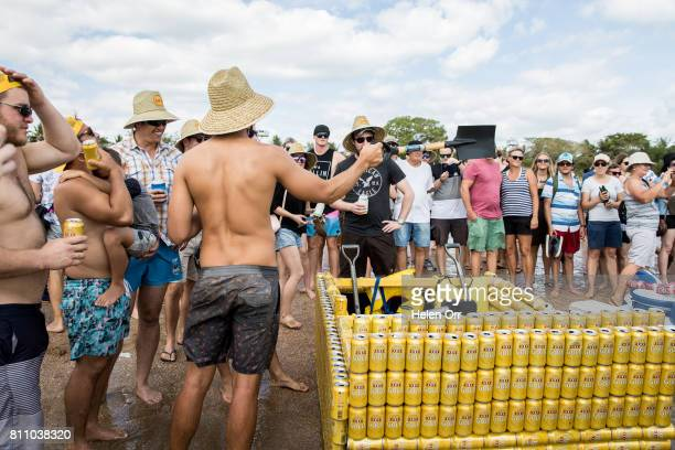 Owen Richards gets ready to race at the Darwin Beer Can Regatta at Mindil Beach on July 9 2017 in Darwin Australia The annual event first started in...