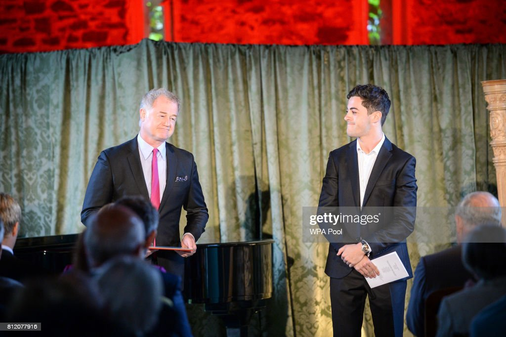 Owen Teale (L) and Richard Henderson perform for Prince Charles, Prince of Wales at his Welsh home near Llandovery, where he is hosting a music and drama evening, also featuring performances by students of the Royal Welsh College of Music and Drama on July 10, 2017 in Ceredigion, Wales.