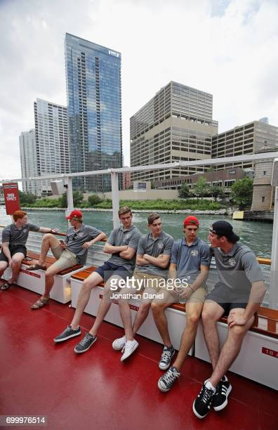 Owen Tippett Casey Mittelstadt Michael Rasmussen Cody Glass Nico Hischier and Nolan Patrick ejoy a ride during the 2017 NHL Draft top prospects media...